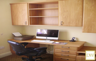 Bespoke oak home office fitted furniture.