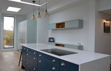 Contemporary styled painted kitchen with Silestone worktops.