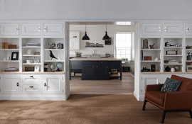 Bespoke painted lounge in-frame units with shelving - a perfect 'on trend' storage solution.