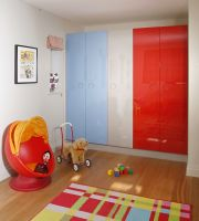 Bespoke Child's playroom - in a choice of 23 colours, these extremely durable, solid acrylic ('Parapan') wardrobe doors are made to any size and UV stable so the colours will never fade!