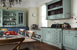 The traditional look and feel of a classic style kitchen can be personalised by using colour - as shown here in this Cornell blue kitchen.