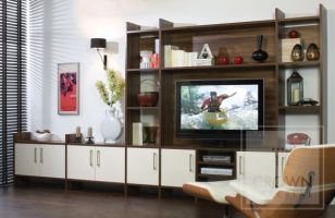Bespoke Living. Customised furniture made to accomodate your television and designed to display your favourite possessions. Shown here in a combination of Walnut  shelving and High Gloss Oyster doors.