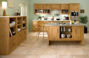 This bold chunky shaker style provides a modern feel. designed here using solid European Wild Knotty Oak.