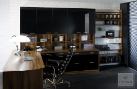 For a contemporary style  this black  home office mixed with dark walnut  fits the  bill,