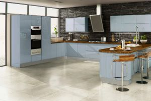 At the cutting edge of contemporary and delivering a vibrant colour choice, this sky blue high-gloss handleless kitchen pushes expectations to a new level.
