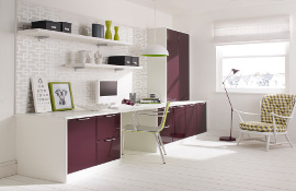 A bright contemporary home office using high gloss white with  plum for an individual modern look