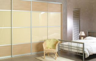 Neutral sliding doors. Consider mixing woodgrain with glass, shown here is Cinnamon woodgrain and Beige Light Glass.