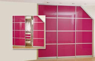 Angled sliding doors with aluminium trim...make a bold statement with these custom-made stunning fuchsia pink glass sliding doors.
