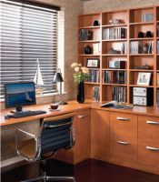 A stylish, modern look with clean lines , home office shown here in rich tones of pear wood.