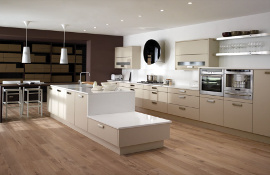 Beige matt contemporary kitchen features include midi appliance housing units, floating shelves and letter box wall cupboards.The feature central island continues the contemporary theme!