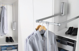 This quality wardrobe lift system can be installed in a variety of wardrobe widths. The hydraulic control mechanism is housed within the tough glass fibre reinforced nylon case, and may be installed in the centre or rear of the wardrobe