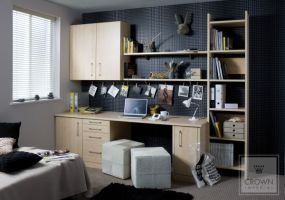 Simple and practical office furniture in maple - a good contrast to bold coloured walls.
