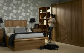Walnut is a beautiful finish -This medium walnut bedroom looks rich, warm and inviting..