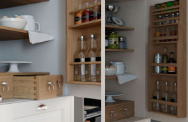 Door-mounted spice rack & internal drawers/spice drawers.